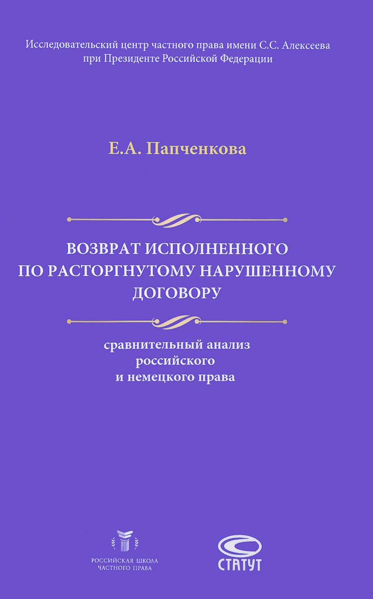 Е. А. Папченкова Возврат исполненного по расторгнутому нарушенному договору. Сравнительный анализ российского и немецкого права