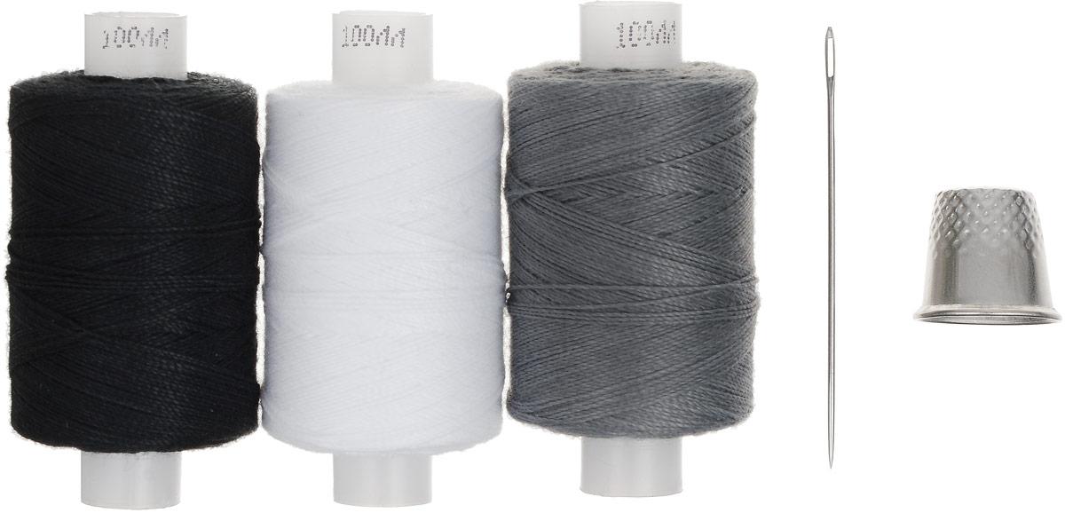 """Набор ниток """"Мастеровой"""", цвет: черный, серый, белый, длина: 200 м, 3 шт"""