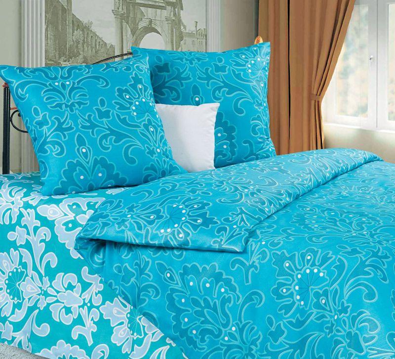 """Комплект белья Diana P&W """"Марианна"""", 1,5-спальный, наволочки 70х70, цвет: бирюзовый, голубой"""