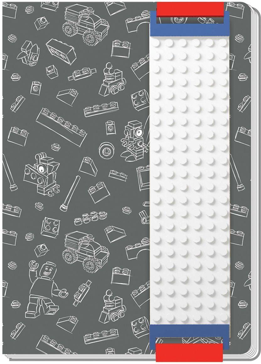 LEGO Записная книжка 96 листов в линейку с закладкой цвет серый 51524