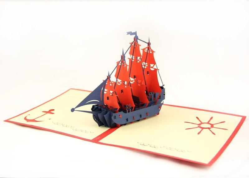 Объемная открытка корабль