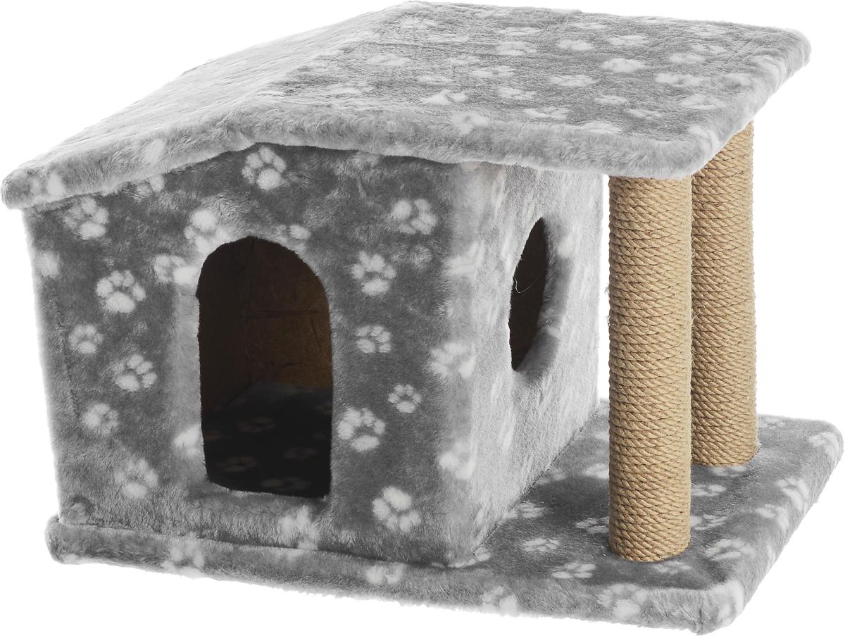 Игровой комплекс для кошек Меридиан Патриция, с домиком и когтеточкой, цвет: серый, белый, бежевый , 63 х 40 х 41 см игровой комплекс для кошек меридиан с фигурной полкой и домиком цвет светло серый бежевый 45 х 36 х 69 см