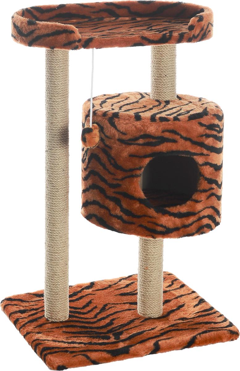 Домик-когтеточка Меридиан, круглый, с площадкой, цвет: оранжевый, черный, бежевый, 52 х 52 х 105 см домик когтеточка меридиан круглый с площадкой цвет белый черный бежевый 52 х 52 х 105 см