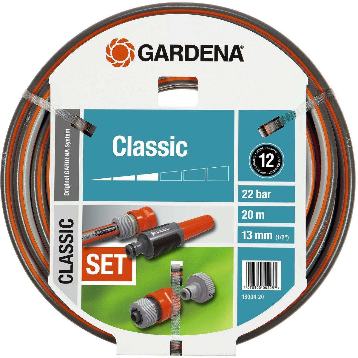 Шланг Gardena Classic, с аксессуарами, диаметр 1/2, длина 20 м18004-20.000.00Шланг Gardena Classic используется совместно с садовой техникой, например его быстро и просто подсоединить к водопроводному крану. Высококачественное армирование способствует сохранению первоначальной формы, не спутывается и не перекручивается. Шланг не восприимчив к УФ-излучению и в его составе отсутствуют фталаты и тяжелые металлы. Выдерживает давление до 22 бар. Благодаря толстым стенкам и высококачественным материалам шланг служит очень долго. В комплекте с данным шлангом поставляется комплект соединительных элементов Original Gardena System: резьбовой штуцер, адаптер, коннектор с автостопом и наконечник. Рекомендуем!