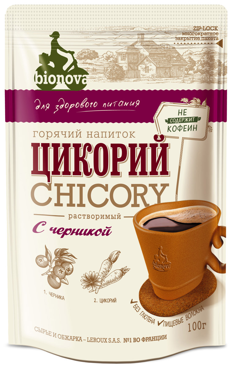 Bionova напиток из цикория с черникой, 100 г недорого