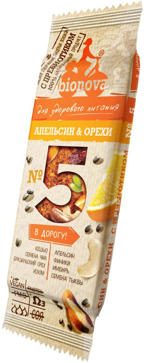 Bionova фруктово-ореховый батончик с апельсином, 35 г bionova фруктово ореховый батончик с малиной и яблоком 35 г