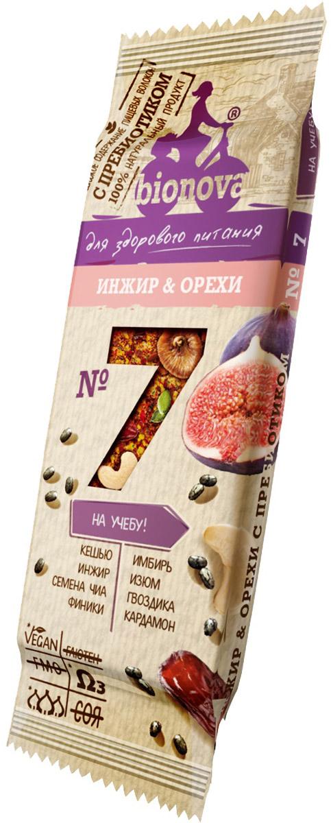 Bionova фруктово-ореховый батончик с инжиром, 35 г bionova фруктово ореховый батончик с малиной и яблоком 35 г