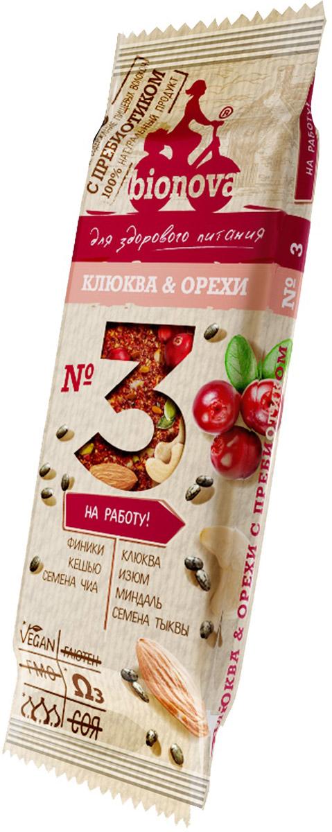 Bionova фруктово-ореховый батончик с клюквой, 35 г bionova фруктово ореховый батончик с малиной и яблоком 35 г