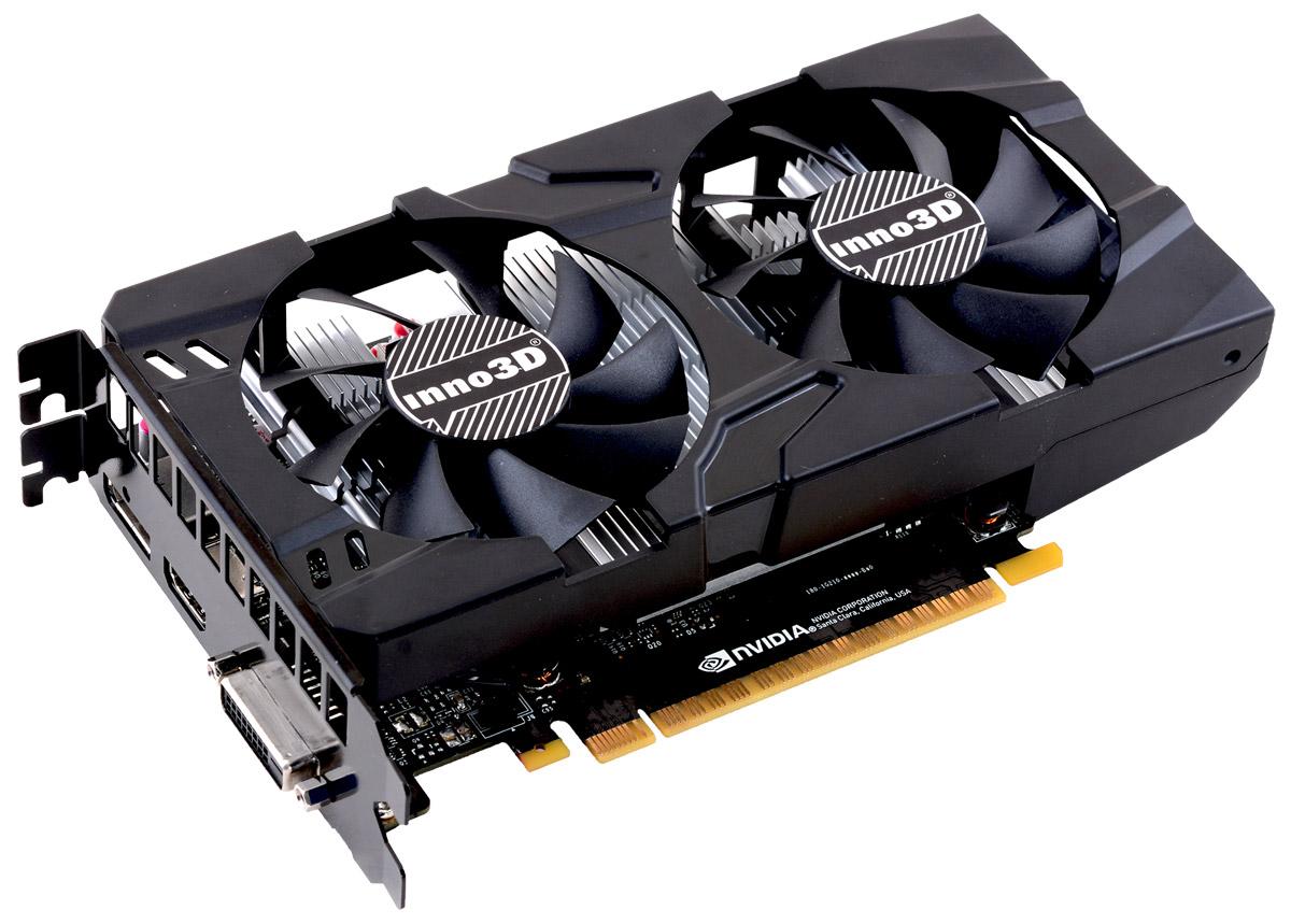 Видеокарта nVidia GeForce GTX1050 Ti Inno3D Twin X2 PCI-E 4096Mb, N105T-1DDV-M5CM видеокарта inno3d geforce gtx 1050 2048mb twin x2 n1050 1ddv e5cm dvi d hdmi dp ret