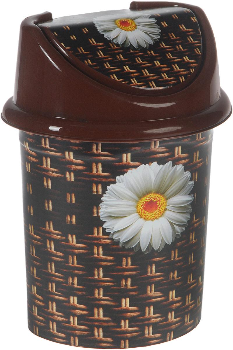 Контейнер для мусора Violet Плетенка, цвет: коричневый, белый, 4 л контейнер для мусора violet дерево цвет коричневый желтый 4 л