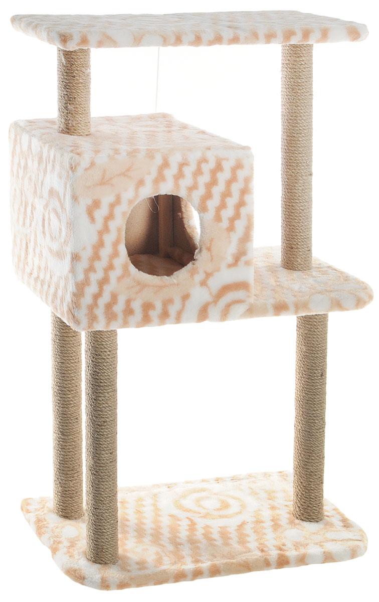"""Домик-когтеточка """"Меридиан"""", квадратный, трехэтажный, с полкой, цвет: в ассортименте, 65 х 36 х 105 см"""