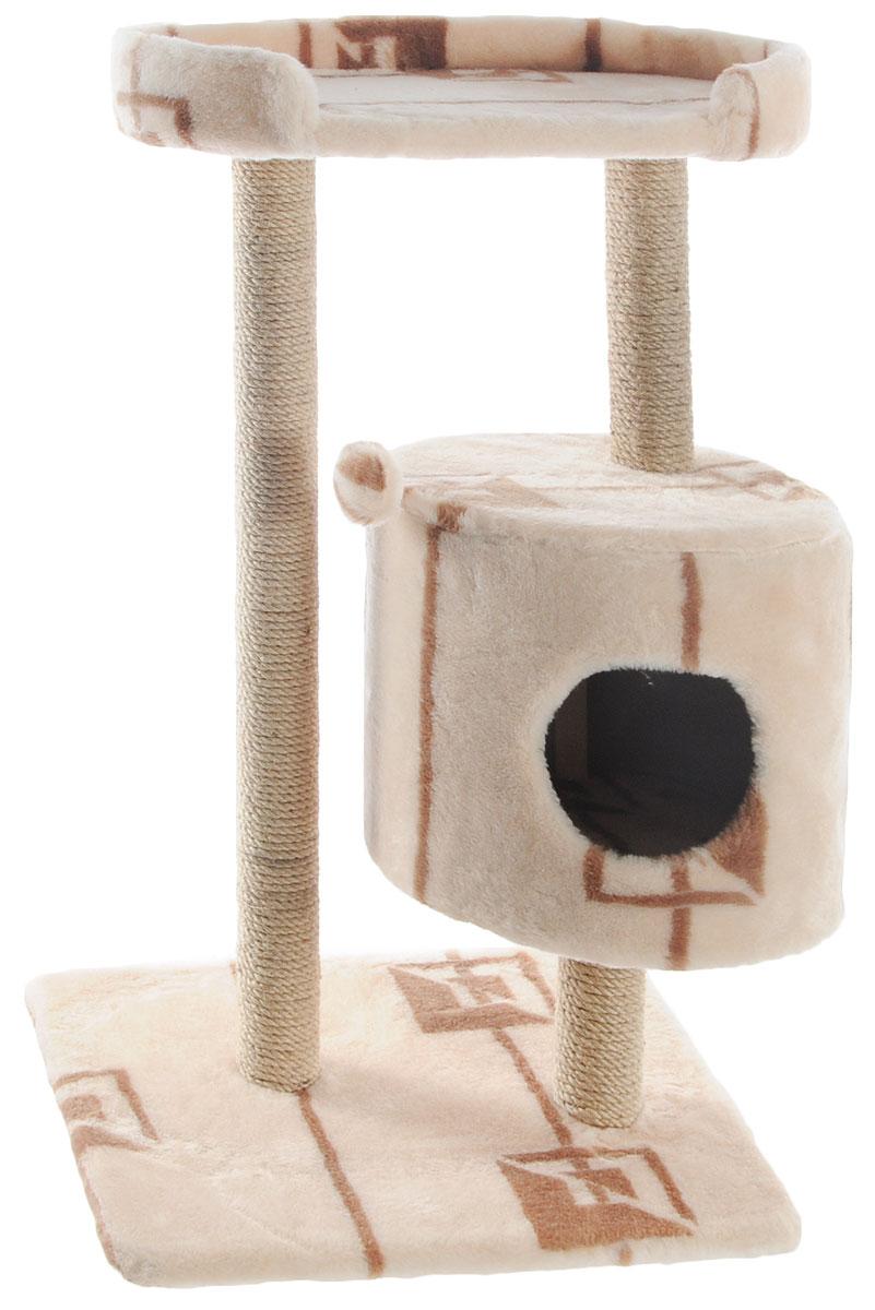 Домик-когтеточка Меридиан, круглый, с площадкой, цвет: бежевый, коричневый, 52 х 52 х 105 см домик когтеточка меридиан круглый с площадкой цвет белый черный бежевый 52 х 52 х 105 см