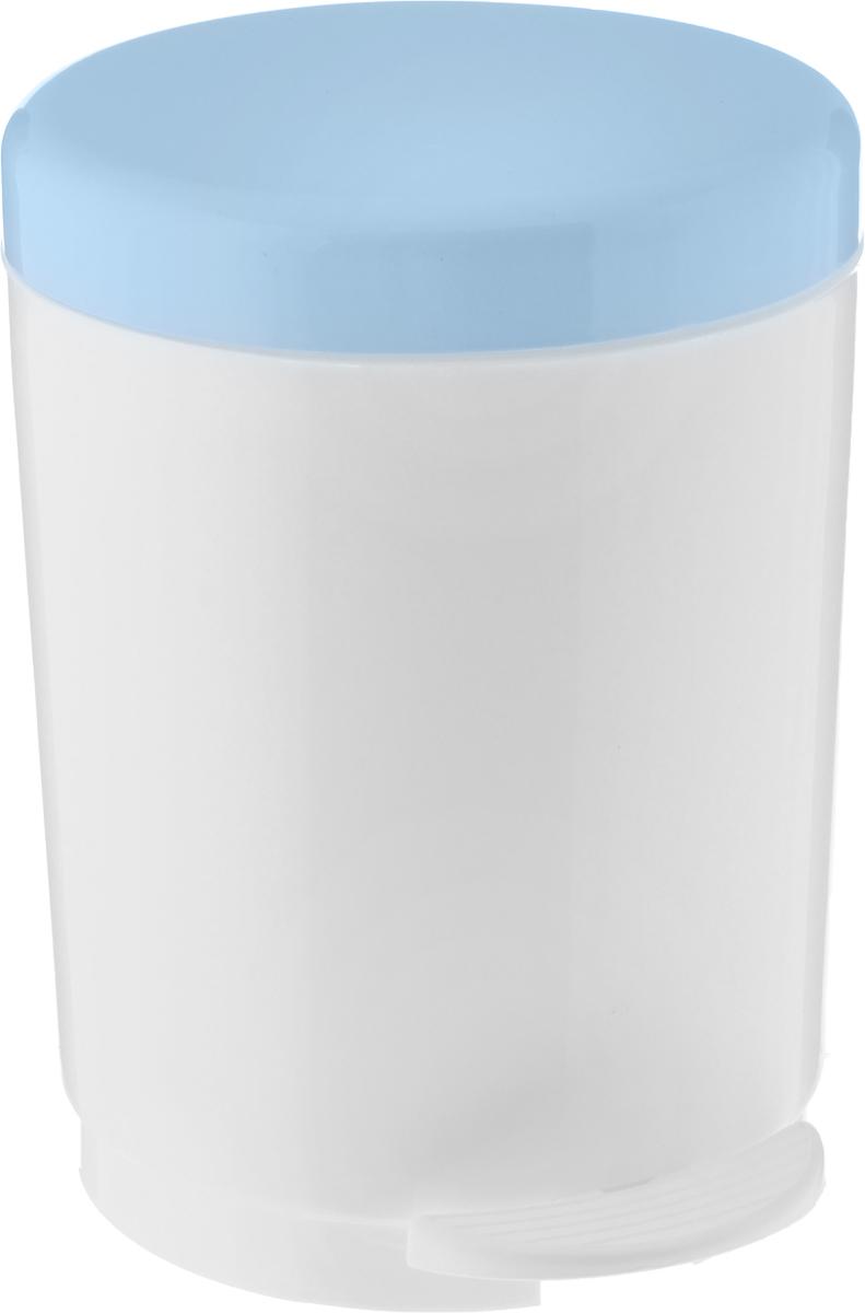 Ведро для мусора Plastic Centre, с педалью, цвет: серо-голубой, белый, 6 л контейнер для мусора plastic centre цвет бежевый коричневый 7 л