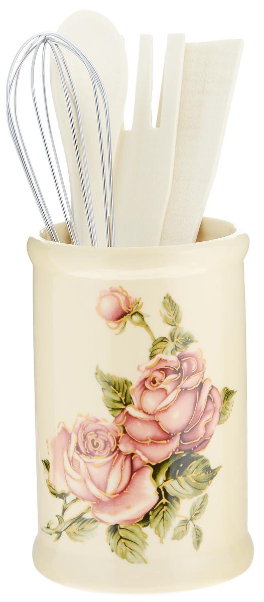 Набор кухонных принадлежностей Loraine Розы, 5 предметов подставка для кухонных принадлежностей loraine розы 16 5 см