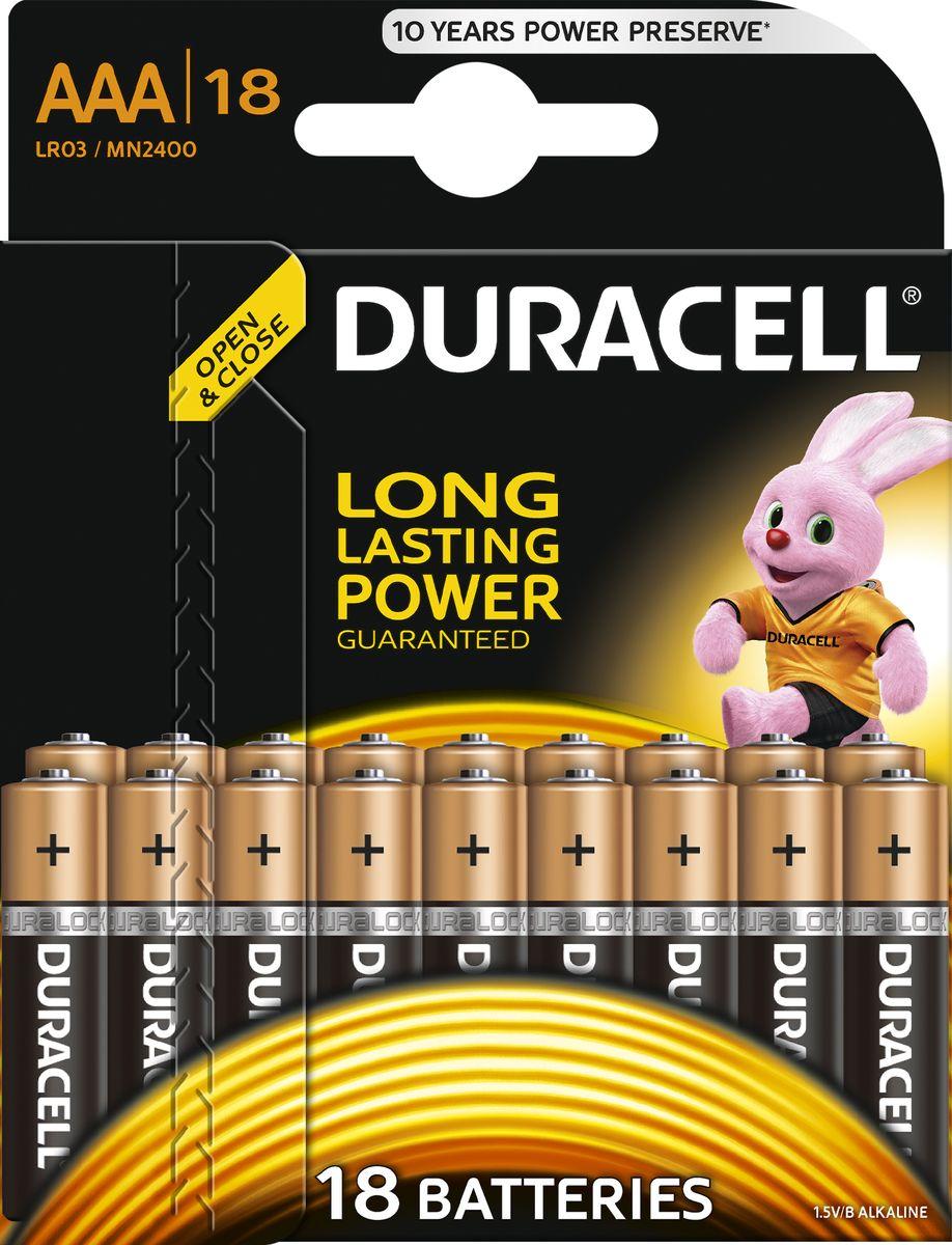 Батарейка щелочная Duracell LR03-18BL Basic, тип ААА, 18 шт батарейка duracell lr03 18bl basic б0014449