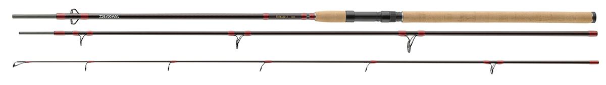 Спиннинг штекерный Daiwa Tornado-Z 3tlg, 3,3 м, 35-95 г61229В серии Tornado-Z представлены 3 частные универсальные удилища для ловли мирной рыбы на тяжелые приманки. Удилища с тремя разными тестами позволяют использовать разнообразные техники ловли судака, щуки, карпа, линя и угря. Благодаря полупараболическому строю, бланки из высокомодульного углепластика отлично сбалансированы и погружаются по всей длине во время заброса - идеально для заброса таких деликатных приманок как тесто, черви и живая рыбка. Оснащены первоклассной пробковой рукояткой, Fuji катушкодержателем, кольцами из оксида титана и поставляются в тканевом чехле.