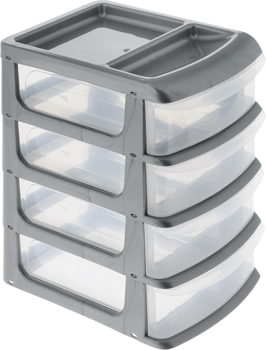 Бокс универсальный Idea, цвет: серый металлик, прозрачный, 20 х 14,5 х 23 см, 4 секции бокс универсальный idea 3 секции цвет салатовый 20 см х 14 5 см х 18 см