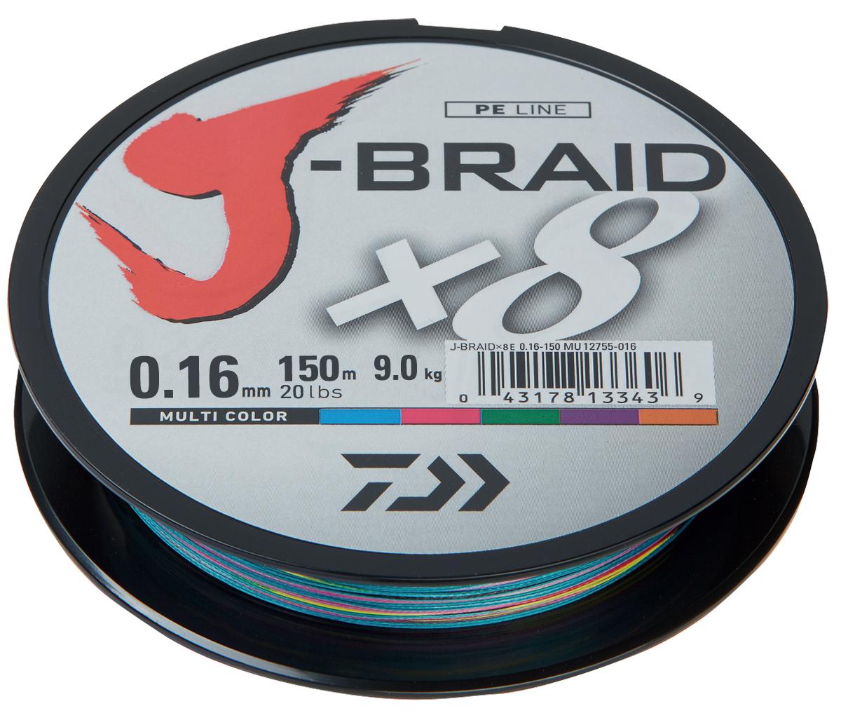 Фото - Шнур плетеный Daiwa J-Braid X8, цвет: мультиколор, 150 м, 0,16 мм шнур плетеный daiwa j braid x8 цвет мультиколор 150 м 0 16 мм