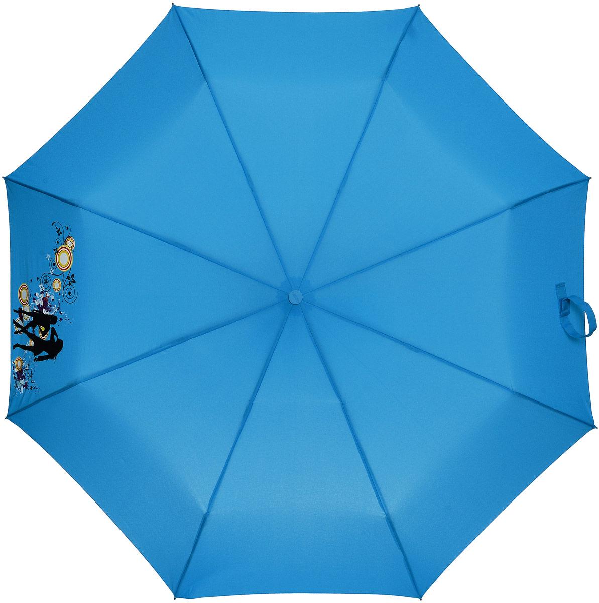 Зонт женский Airton, автомат, 3 сложения, цвет: голубой, оранжевый. 3917-228 зонт airton 3917 8028 полный автомат женский
