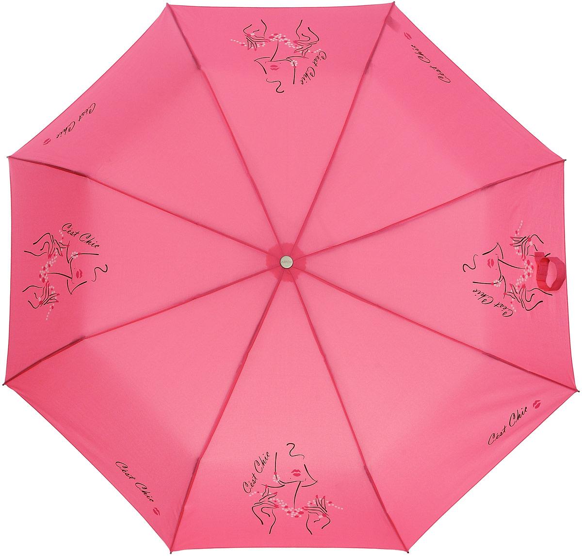 Зонт женский Airton, автомат, 3 сложения, цвет: розовый, черный. 3912-30 зонт airton 3917 8028 полный автомат женский