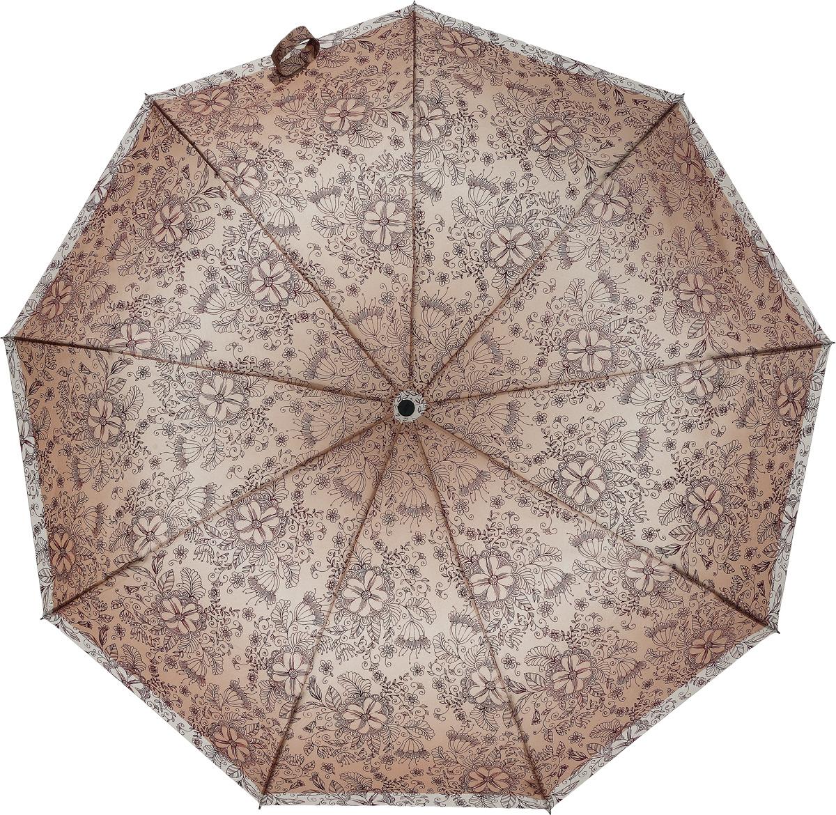 Зонт женский Zest, автомат, 3 сложения, цвет: светло-бежевый, коричневый. 239996-1097 недорго, оригинальная цена