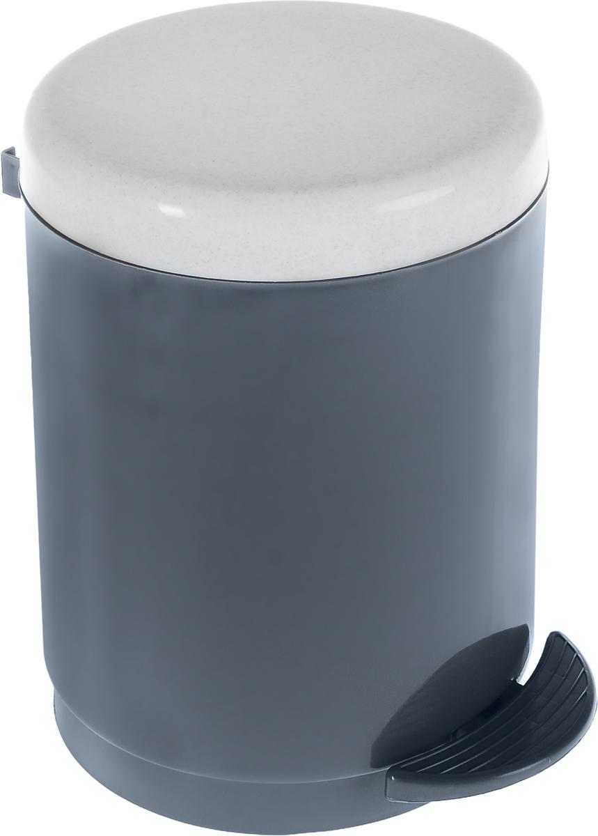 Ведро для мусора Plastic Centre, с педалью, цвет: мраморный, темно-серый, 6 л контейнер для мусора plastic centre цвет бежевый коричневый 7 л