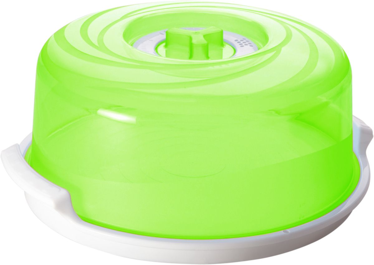 Крышка для СВЧ Plastic Centre Galaxy, с паровыпускным клапаном, с поддоном, цвет: зеленый, прозрачный, диаметр 25 см комплект емкостей для свч plastic centre galaxy цвет светло зеленый прозрачный 5 шт