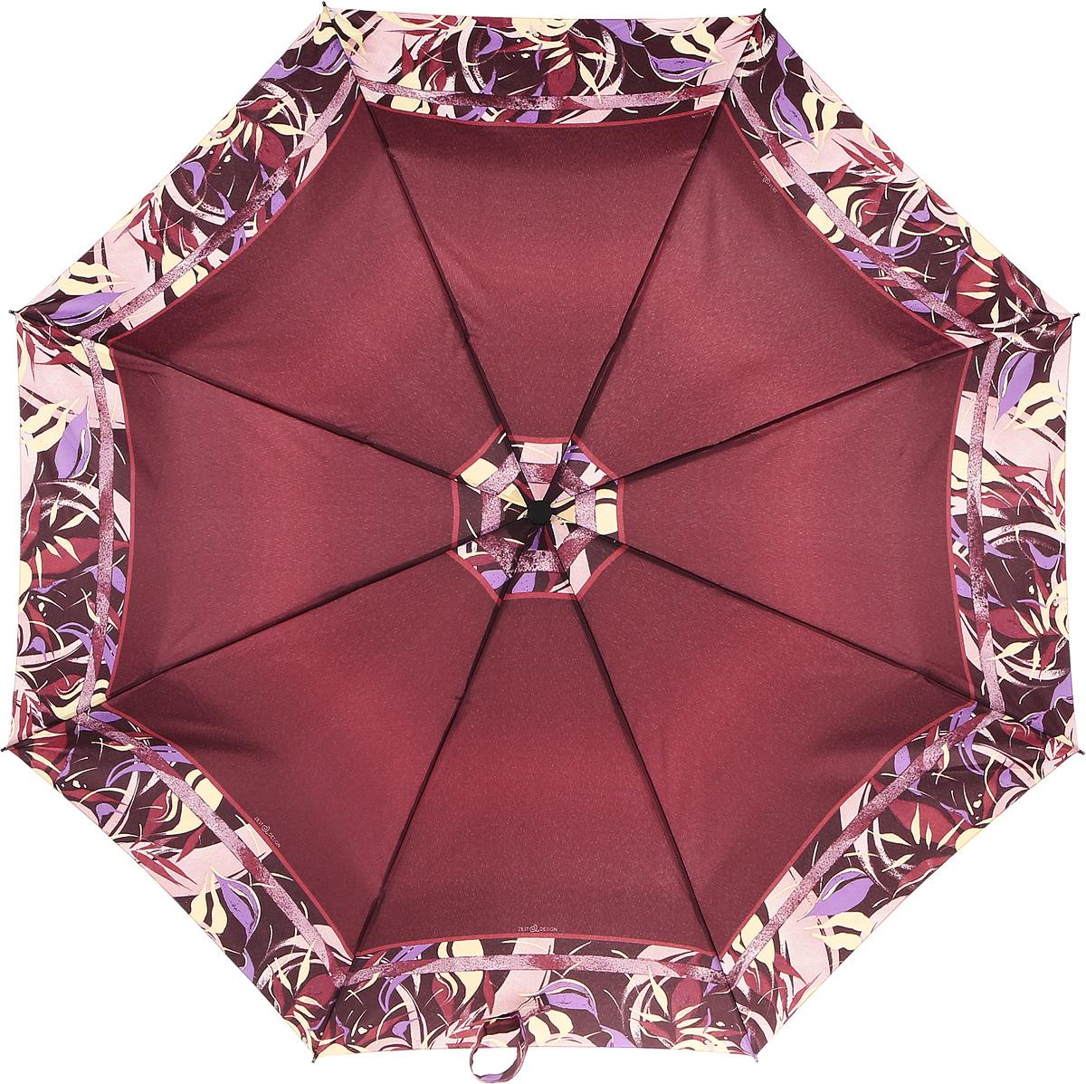 Зонт женский Airton, автомат, 3 сложения, цвет: бордовый, бежевый. 39155-69 зонт airton 3917 8028 полный автомат женский