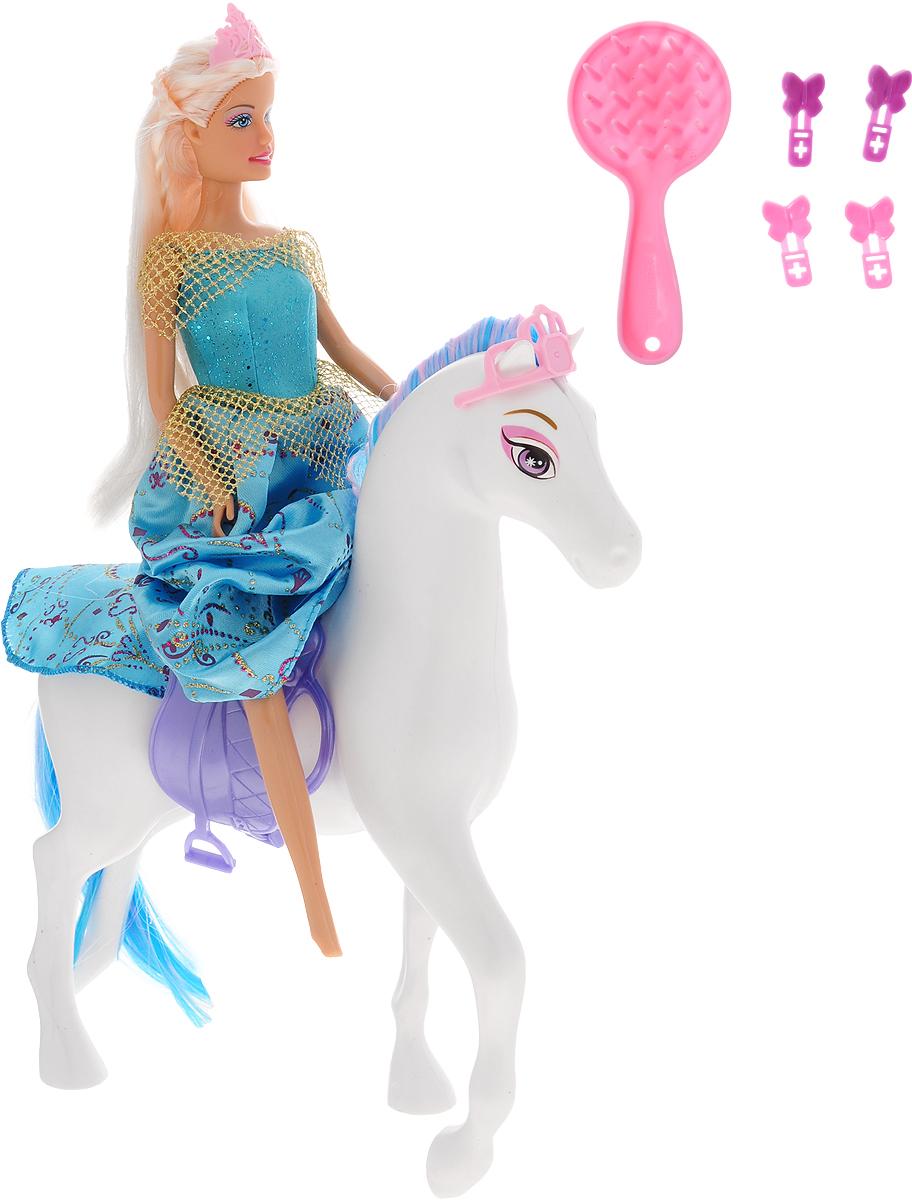 Defa Игровой набор с куклой Lucy and Her Horse цвет платья голубой игровые наборы 1toy игровой набор красотка с феном расческа зеркало заколки аксессуары