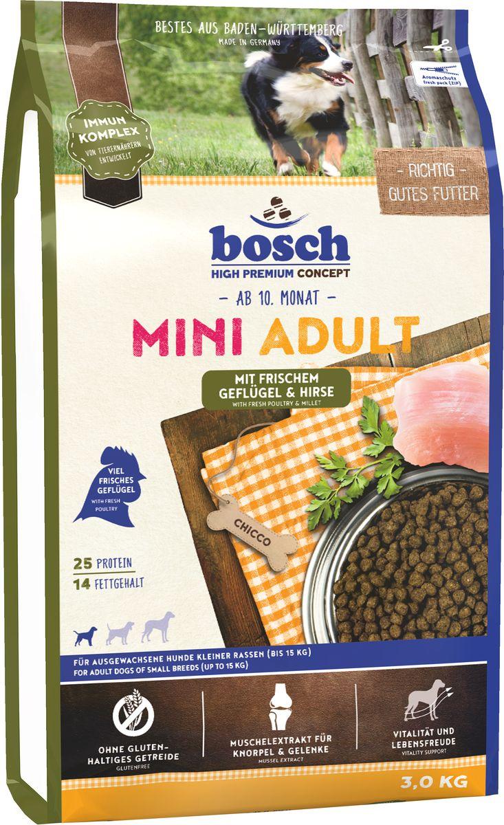 """Корм сухой Bosch """"Mini Adult Geflugel & Hirse"""" для взрослых собак мелких пород, с птицей и просо, 3 кг"""