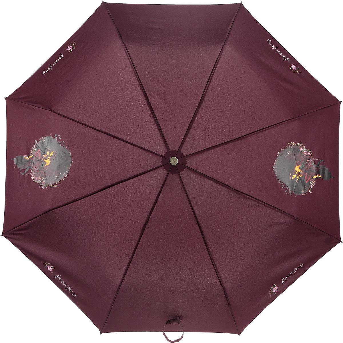 Зонт женский Airton, автомат, 3 сложения, цвет: бордовый, черный. 3912-338 зонт airton 3917 8028 полный автомат женский