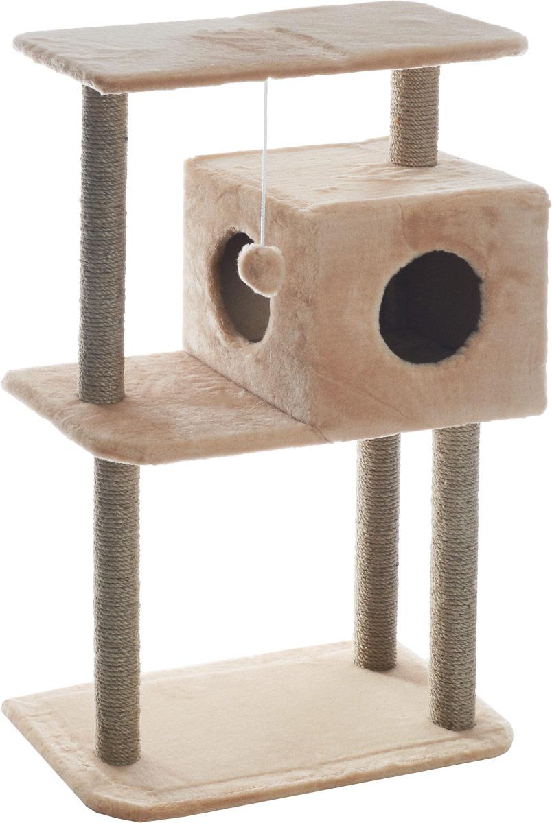 Домик-когтеточка Меридиан, квадратный, трехэтажный, с полкой, цвет в ассортименте, 65 х 36 х 105 см домик когтеточка меридиан квадратный трехэтажный с полкой цвет светло коричневый 65 х 36 х 105 см