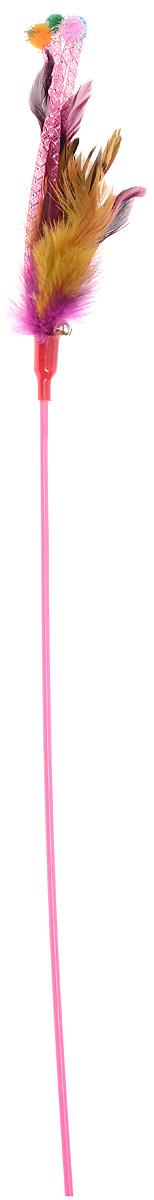 Игрушка для кошек Dezzie Дразнилка, с колокольчиком, цвет: розовый, фиолетовый, желтый, длина 66 см игрушка для кошек dezzie дразнилка мишура 46 см