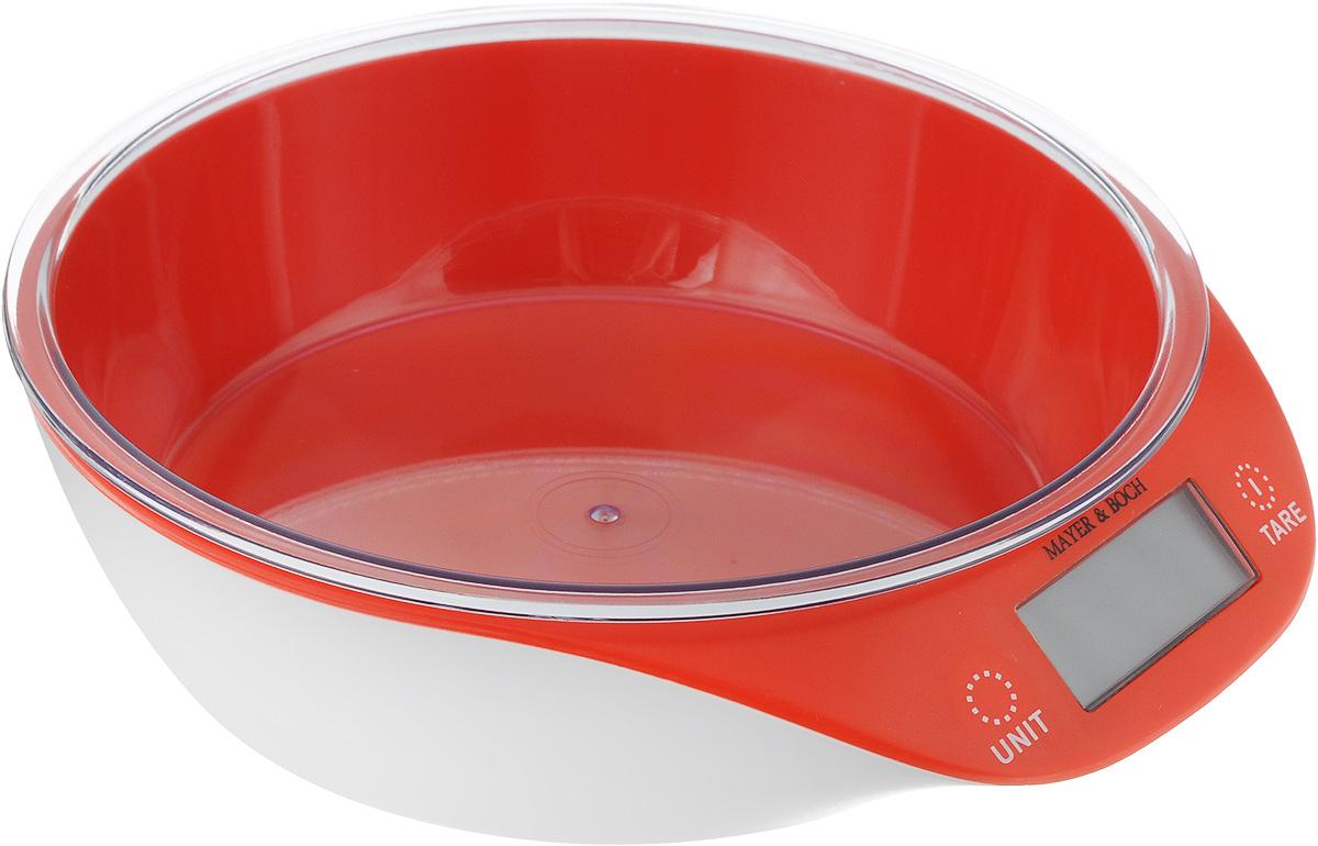 Весы кухонные Mayer & Boch, с чашей, цвет: красный, белый, до 5 кг весы mayer