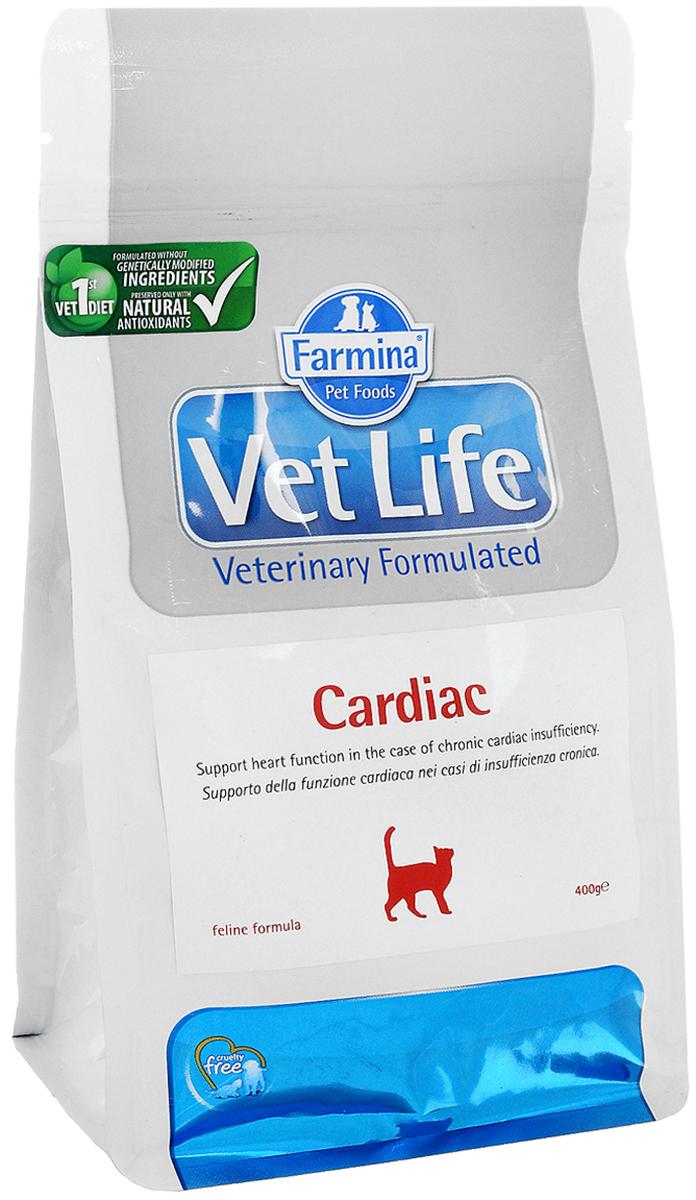 Корм сухой Farmina Vet Life для кошек, для поддержания работы сердца при хронической сердечной недостаточности, диетический, 400 г корм сухой farmina vet life для кошек для поддержания функции почек при почечной недостаточности диетический 400 г
