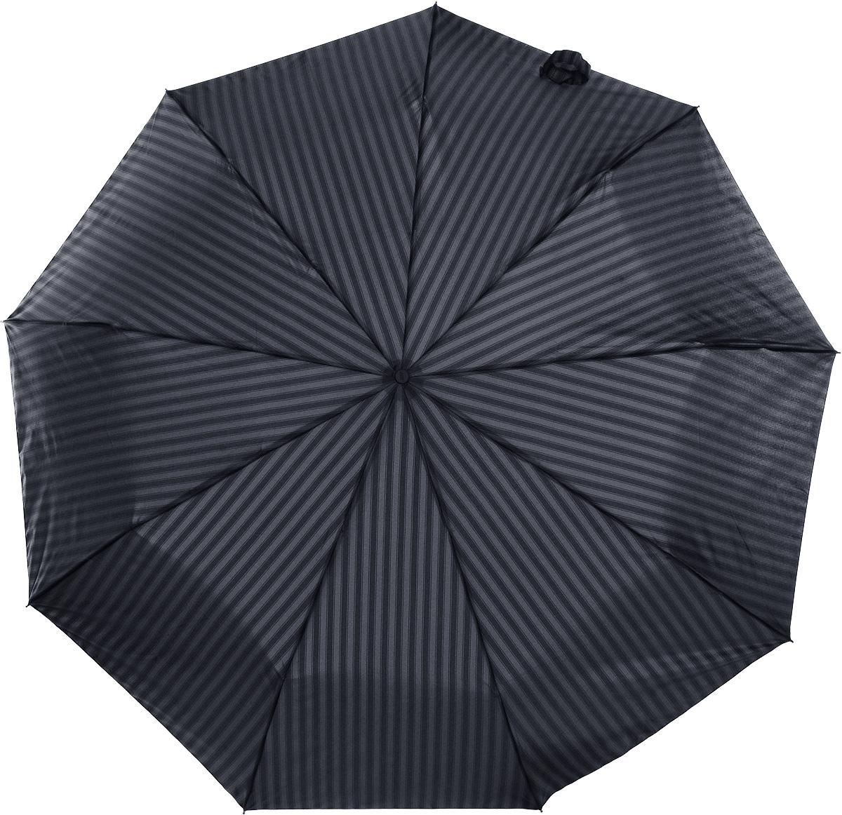 Зонт мужской Zest, автомат, 3 сложения, цвет: темно-серый, серый. 13953-1