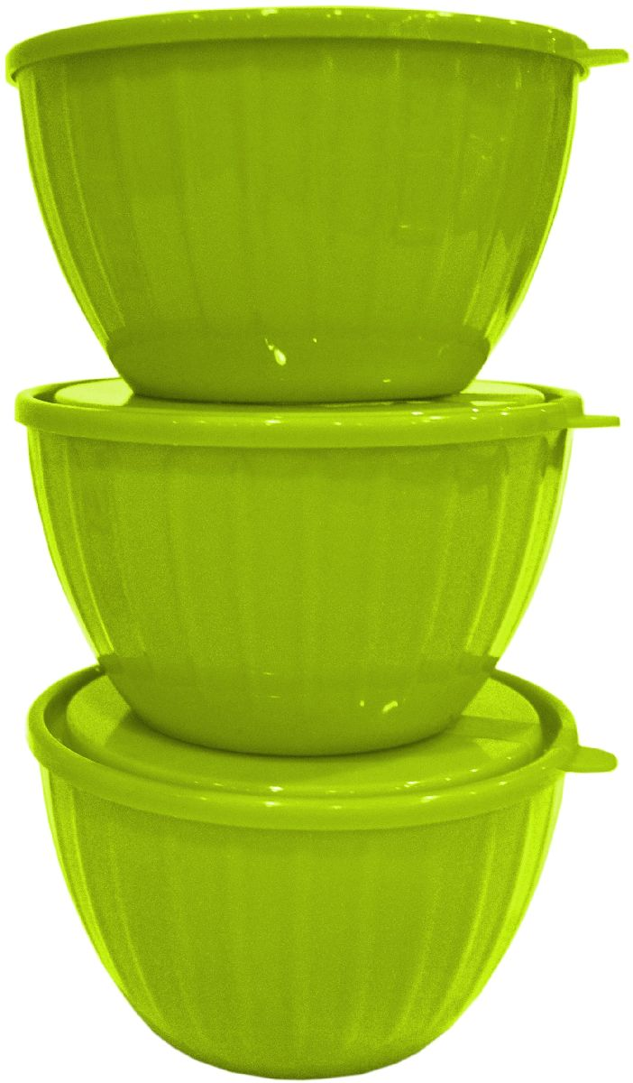 Набор салатников Giaretti Fiesta, с крышками, цвет: оливковый, 0,6 л, 3 шт набор салатников giaretti riva с крышками цвет красный 2 шт