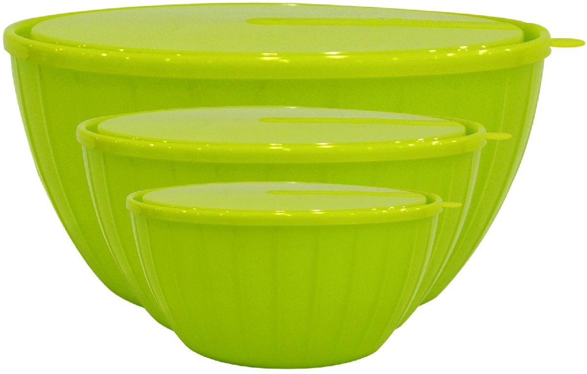 Набор салатников Giaretti Fiesta, с крышками, цвет: оливковый, 3 предмета набор салатников giaretti riva с крышками цвет красный 2 шт