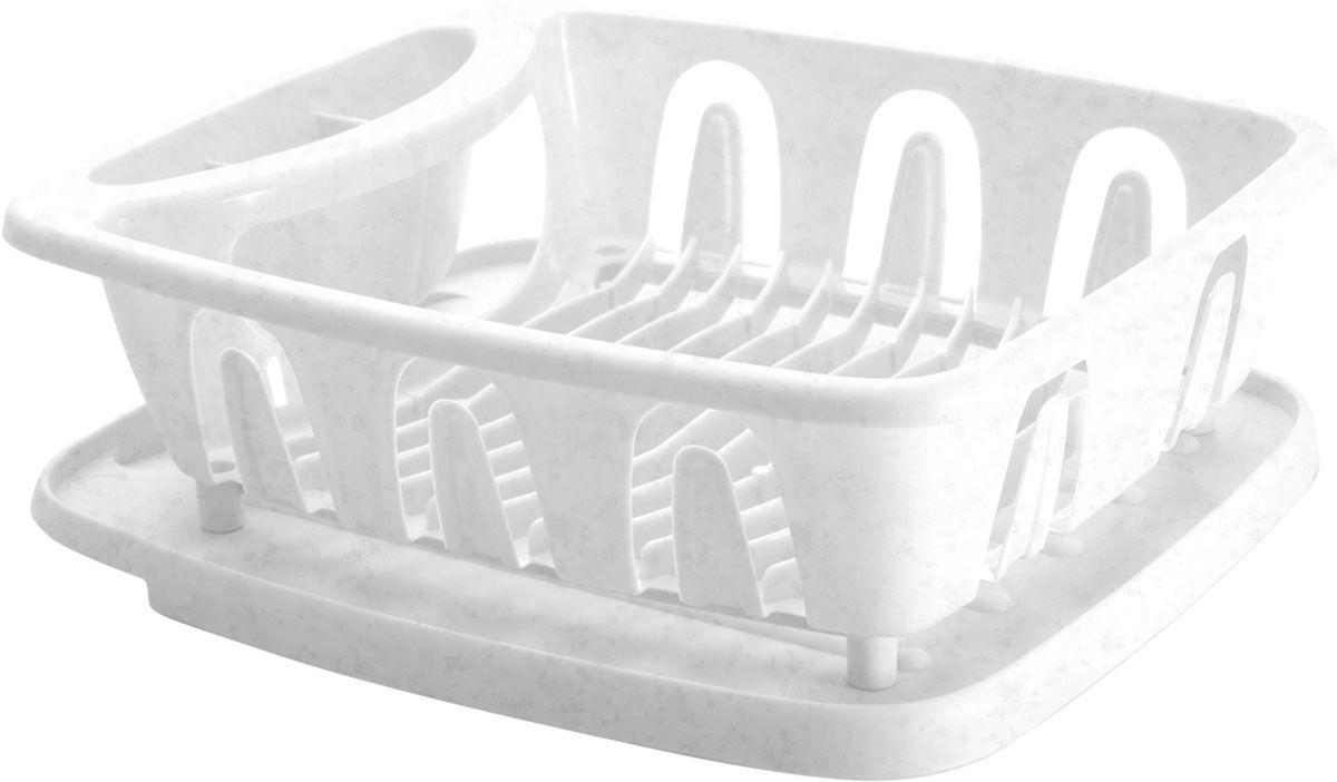 Сушилка для посуды Plastic Centre Люкс, с поддоном, цвет: мраморный, 36 х 31 х 12,5 см цена