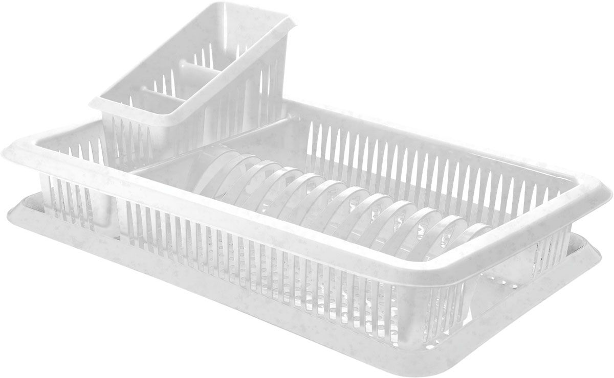 Сушилка для посуды Plastic Centre Лилия, с поддоном, с сушилкой для столовых приборов, цвет: мраморный, 48 х 30,5 х 17 см цена