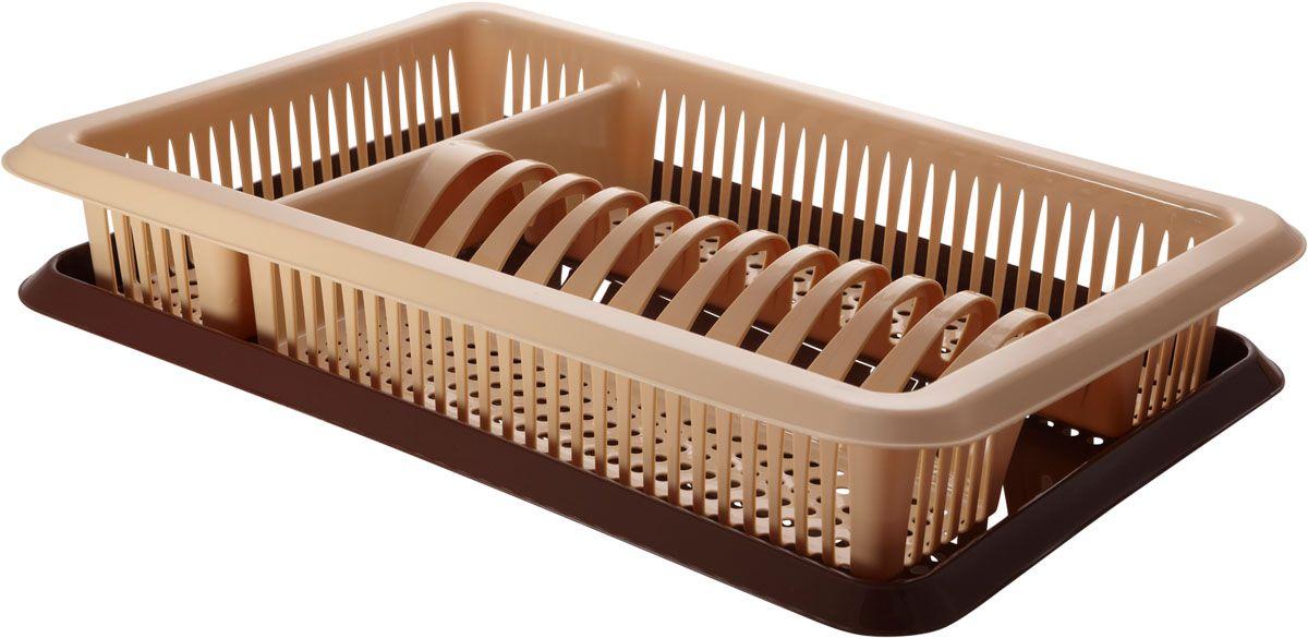 Сушилка для посуды Plastic Centre Лилия, с поддоном, цвет: бежевый, коричневый, 48 х 30,5 х 8,5 см контейнер для мусора plastic centre цвет бежевый коричневый 7 л