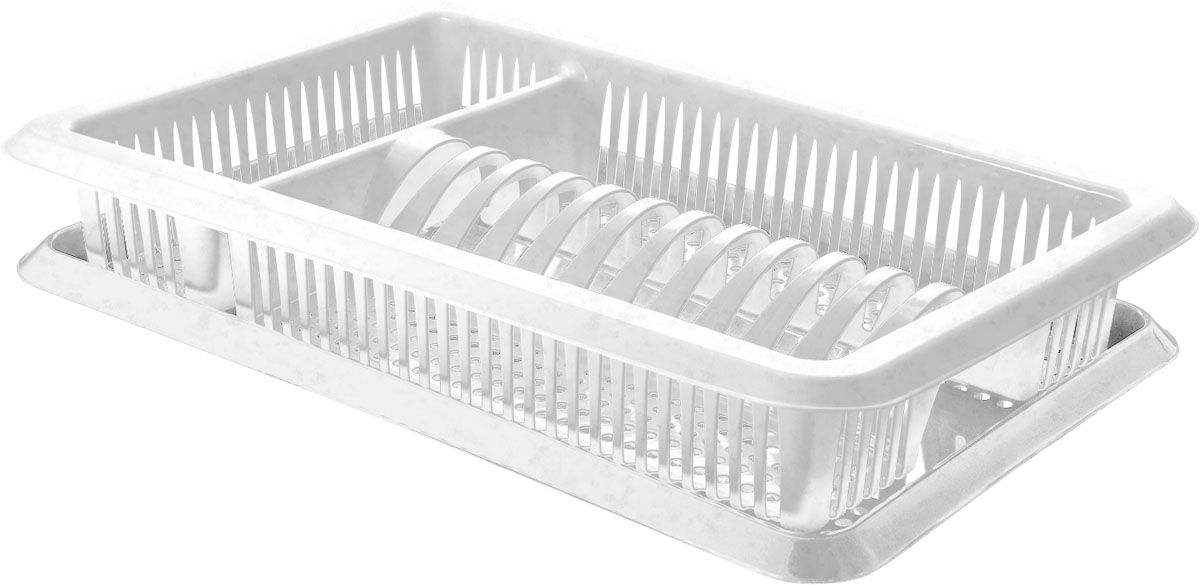 Сушилка для посуды Plastic Centre Лилия, с поддоном, цвет: мраморный, 48 х 30,5 х 8,5 см цена