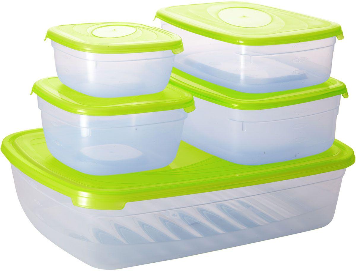 Комплект емкостей для СВЧ Plastic Centre Galaxy, цвет: светло-зеленый, прозрачный, 5 шт комплект емкостей для свч plastic centre galaxy цвет светло зеленый прозрачный 5 шт