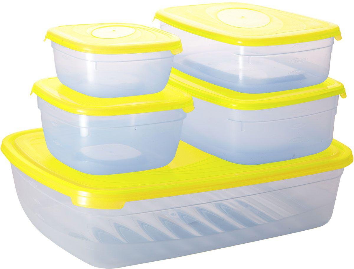 Комплект емкостей для СВЧ Plastic Centre Galaxy, цвет: желтый, прозрачный, 5 шт комплект емкостей для свч plastic centre galaxy цвет светло зеленый прозрачный 5 шт
