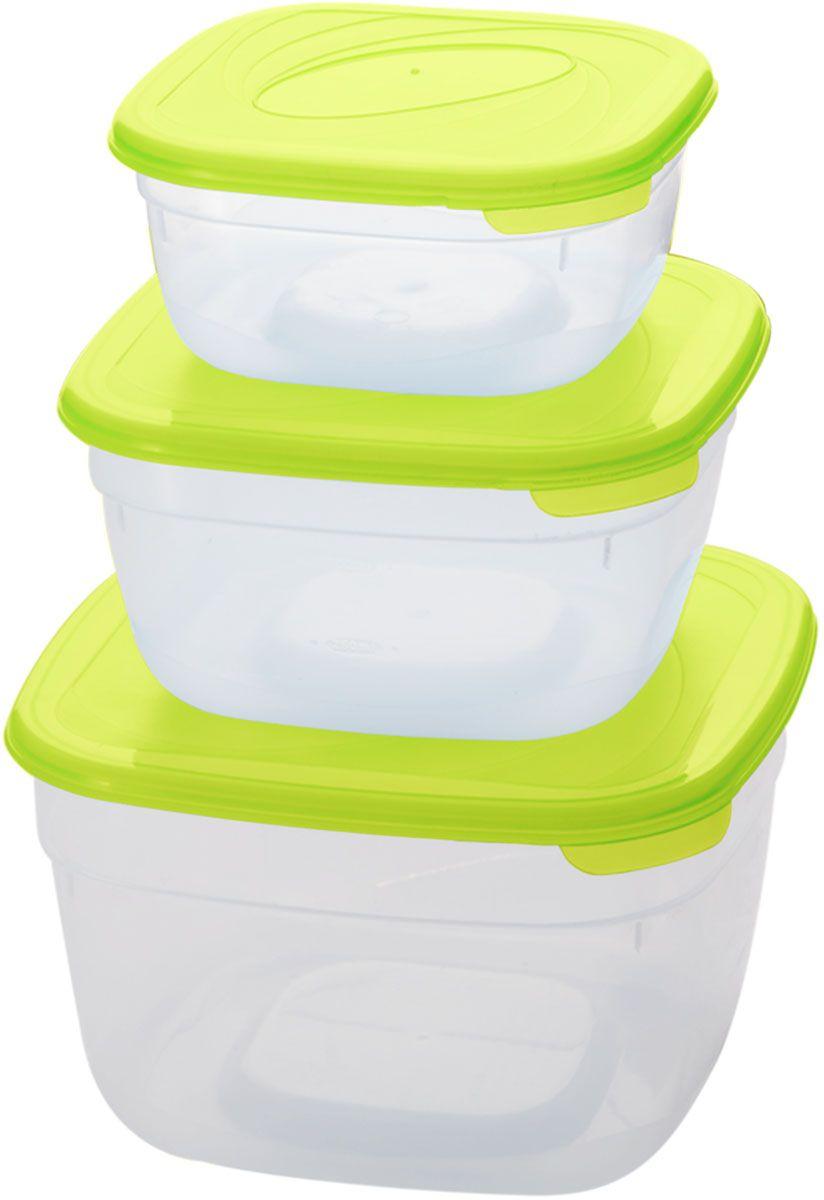 Комплект емкостей для СВЧ Plastic Centre Galaxy, цвет: светло-зеленый, прозрачный, 3 шт емкость для хранения plastic centre сфера цвет светло зеленый прозрачный 2 л
