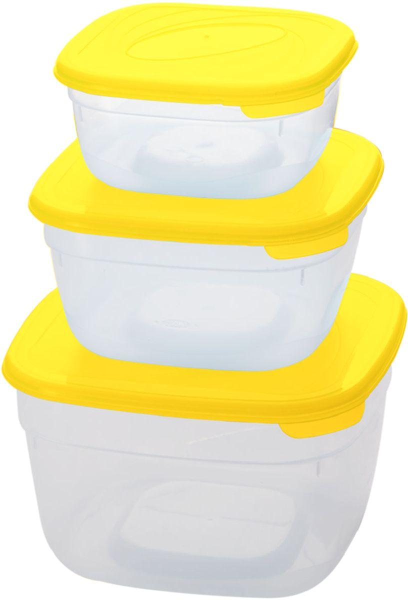 Комплект емкостей для СВЧ Plastic Centre Galaxy, цвет: желтый, прозрачный, 3 шт комплект емкостей для свч plastic centre galaxy цвет светло зеленый прозрачный 5 шт