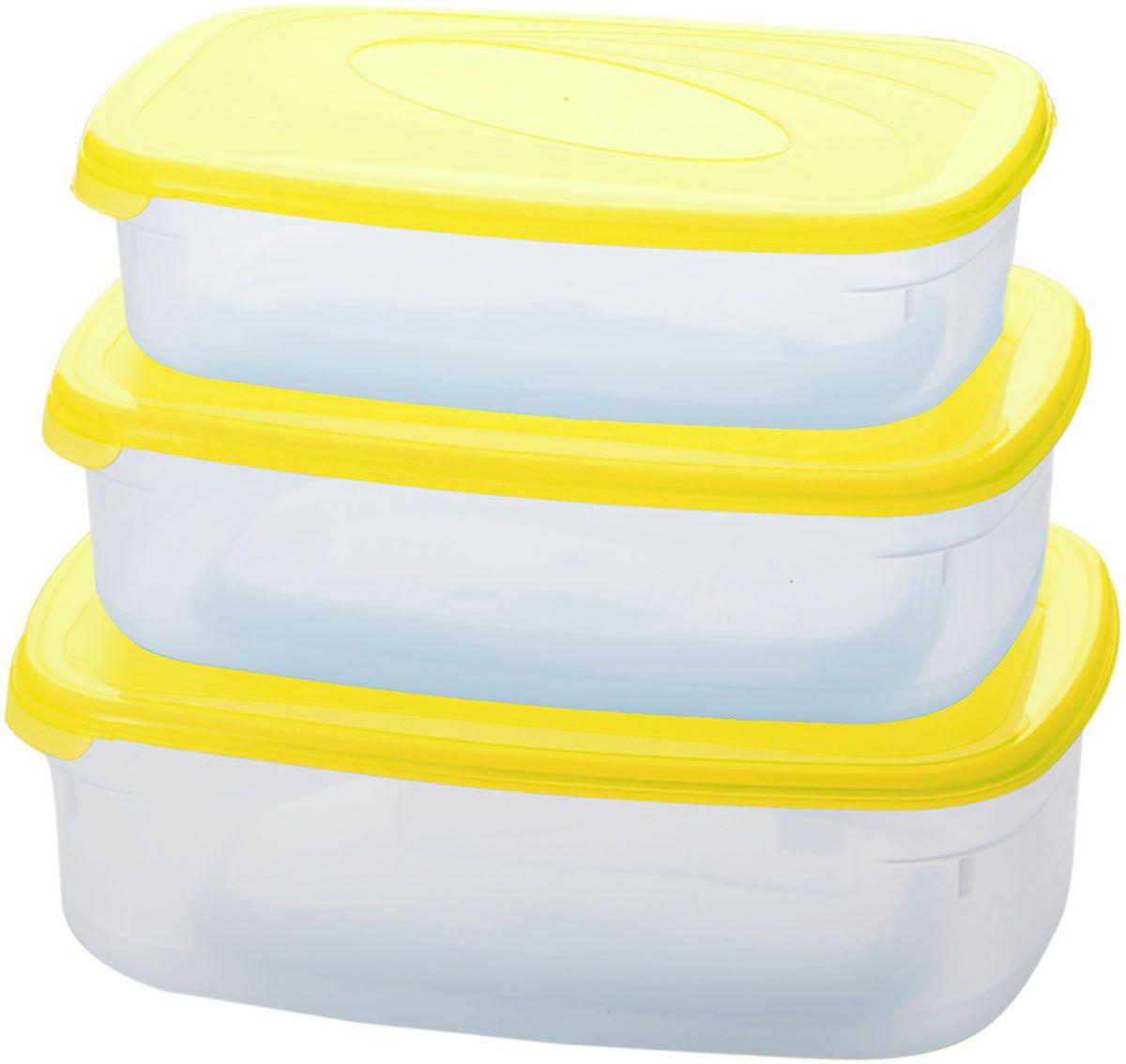 Комплект емкостей для СВЧ Plastic Centre Galaxy, цвет: желтый, прозрачный, 3 шт. ПЦ2234ЛМН комплект емкостей для свч plastic centre galaxy цвет светло зеленый прозрачный 5 шт
