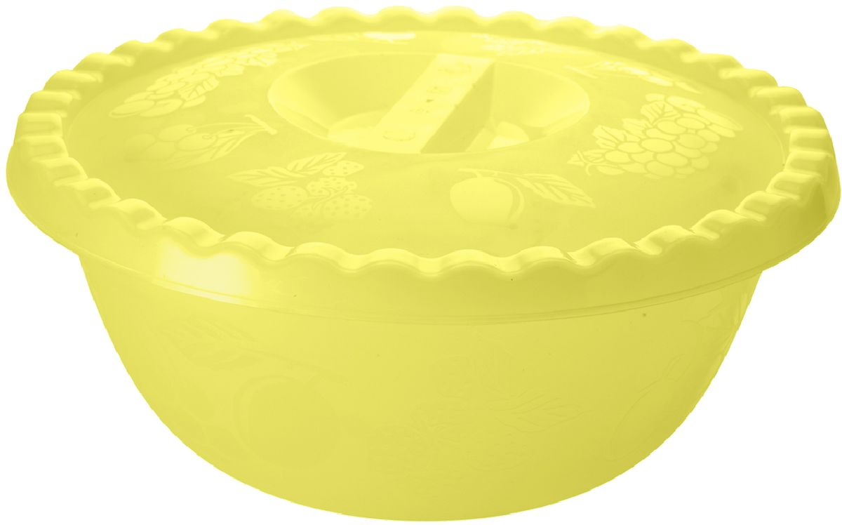Салатник Plastic Centre Фазенда, с крышкой, цвет: желтый, 3 л миска plastic centre фазенда с крышкой цвет светло зеленый 6 л