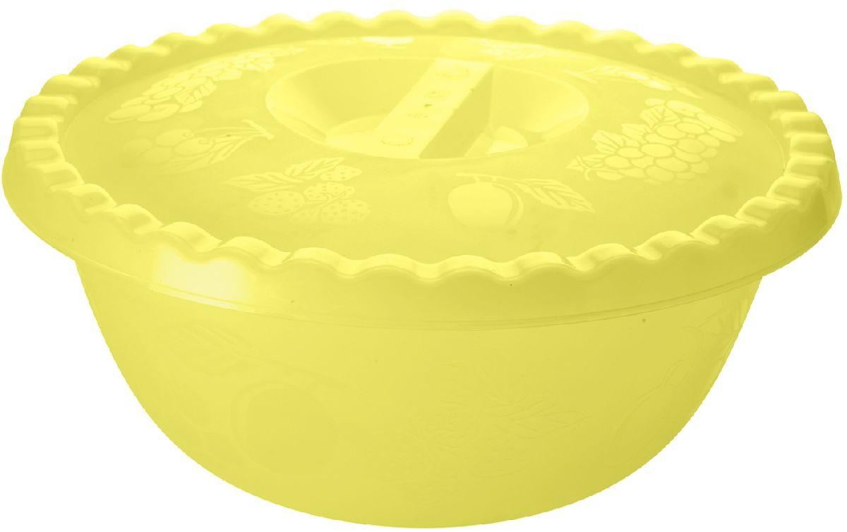 Миска Plastic Centre Фазенда, с крышкой, цвет: желтый, 6 л миска plastic centre фазенда с крышкой цвет светло зеленый 6 л