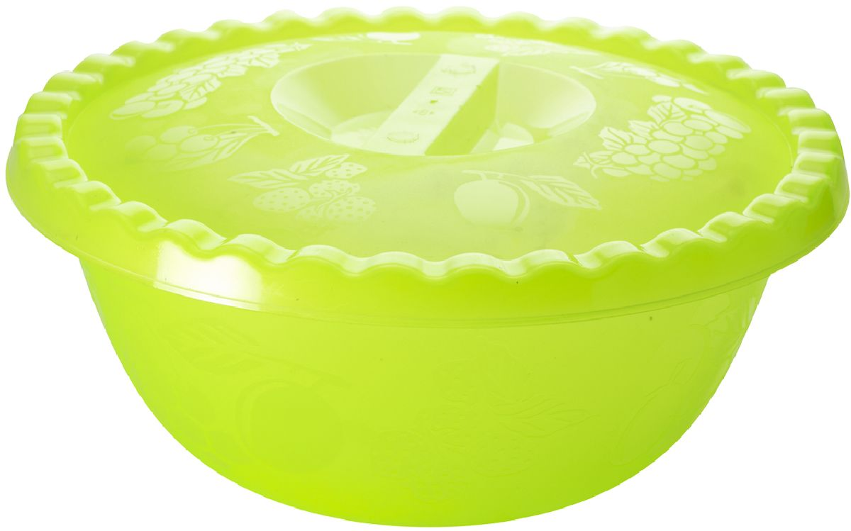 """Миска Plastic Centre """"Фазенда"""", с крышкой, цвет: светло-зеленый, 6 л"""